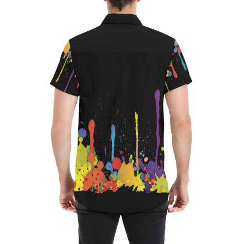 Crazy multicolored running SPLASHES Men's All Over Print Short Sleeve Shirt (Model T53)
