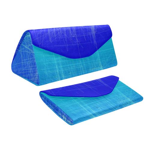 Frosty Blue Retro Glitch Custom Foldable Glasses Case
