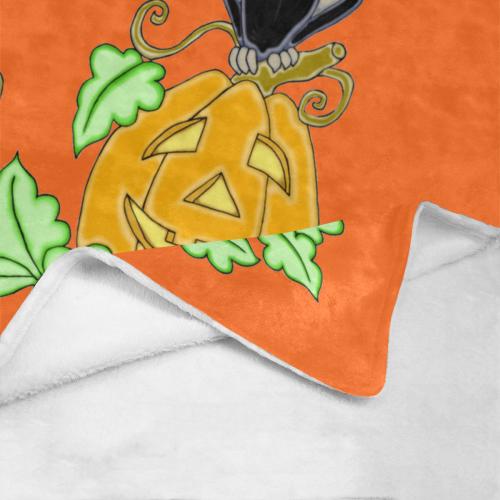 "Halloween Crow And Pumpkin Orange Ultra-Soft Micro Fleece Blanket 40""x50"""