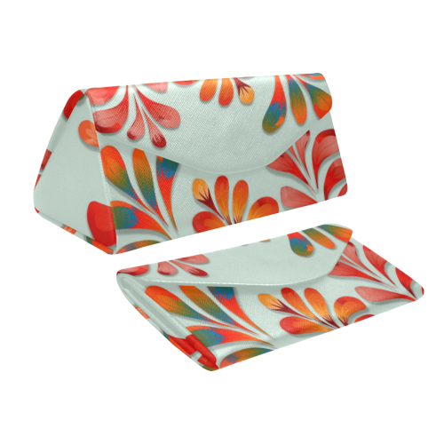 Red Floral Dance Pattern Custom Foldable Glasses Case