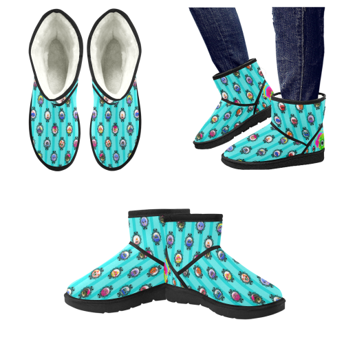 Grid_Teals Low Top Unisex Snow Boots (Model 049)