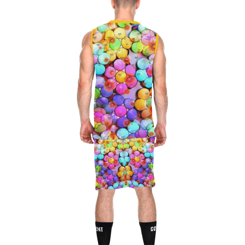 Candy Flower Popart by Nico Bielow All Over Print Basketball Uniform