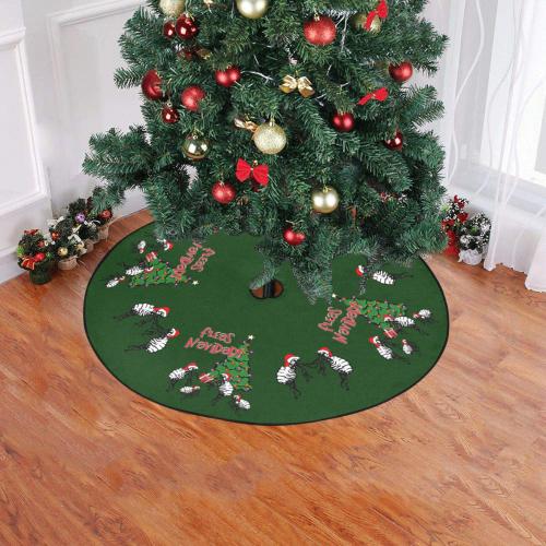 """Christmas Fleas Navidad Green Christmas Tree Skirt 47"""" x 47"""""""