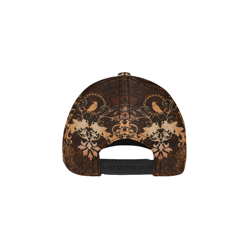 Floral design with crow All Over Print Dad Cap C (6-Pieces Customization)
