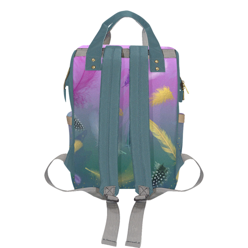 Dancing Feathers - Pink and Green Multi-Function Diaper Backpack (Model 1688)