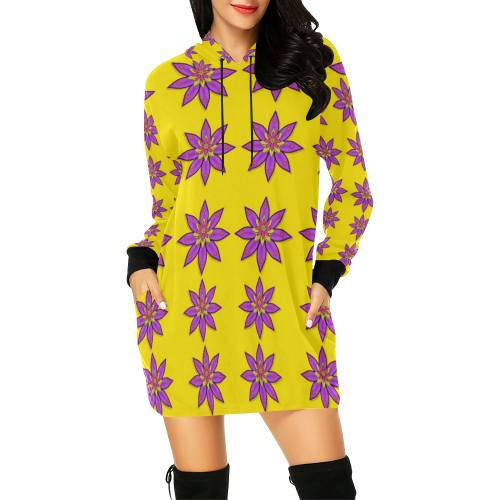 fantasy flower in the happy jungle of beauty All Over Print Hoodie Mini Dress (Model H27)