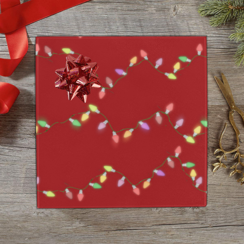"""Festive Christmas Lights  on Red Gift Wrapping Paper 58""""x 23"""" (5 Rolls)"""