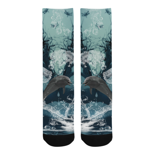 Dolphin jumping by a heart Trouser Socks (For Men)