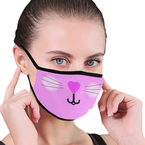 Kitty Mouth Nose Whiskers Pink Mouth Mask