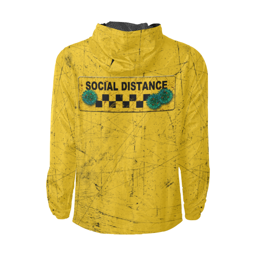 yellow used look social distance virus Men's All Over Print Windbreaker (Model H23)