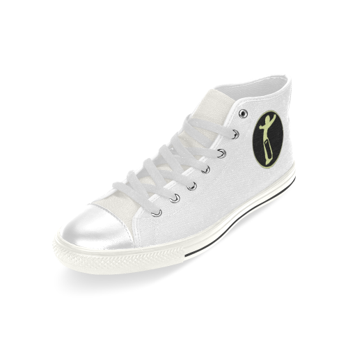 DW White/Blk/Yellow Love Men's Classic High Top Canvas Shoes (Model 017)