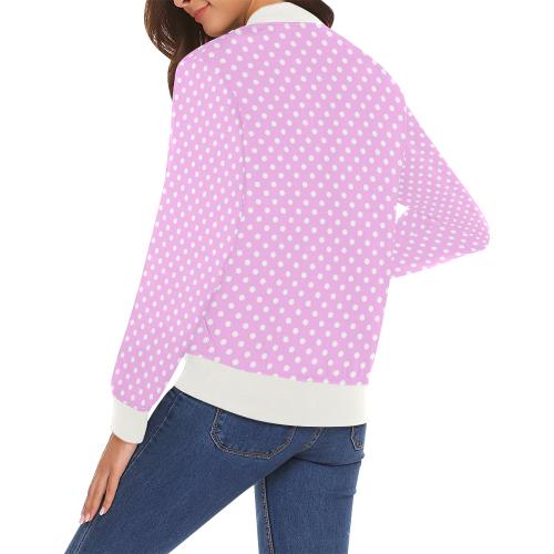 Polka-dot pattern All Over Print Bomber Jacket for Women (Model H19)