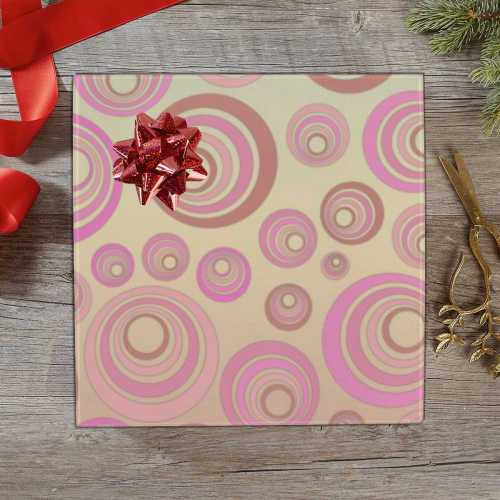 """Retro Psychedelic Pink on Yellow Gift Wrapping Paper 58""""x 23"""" (1 Roll)"""