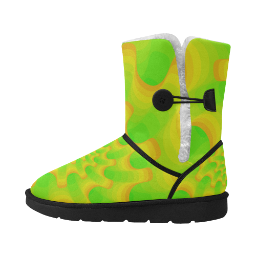 Green yellow shell spiral Unisex Single Button Snow Boots (Model 051)