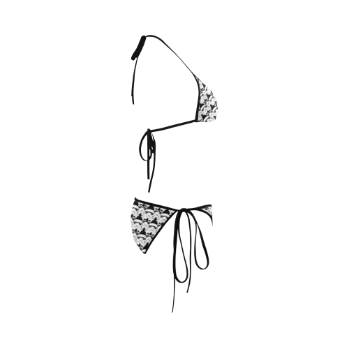 Black Background Stormtrooper Helmet Print String Bikini Custom Bikini Swimsuit