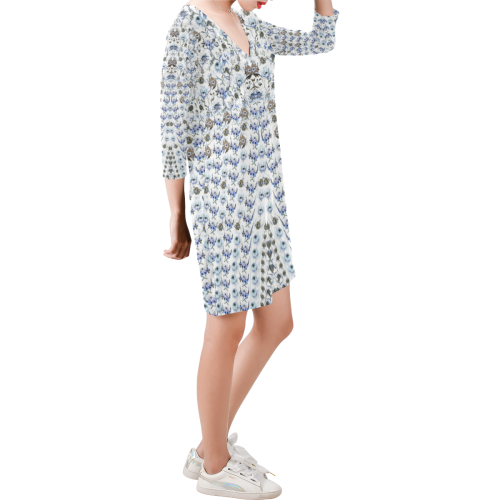mille fleurs blue Deep V Three-Quarter Sleeve Dress (Model D48)