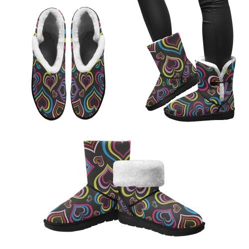 Kids love Design boots black Unisex Single Button Snow Boots (Model 051)