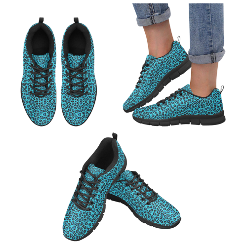 Blue Leopard + Black Women's Breathable Running Shoes/Large (Model 055)