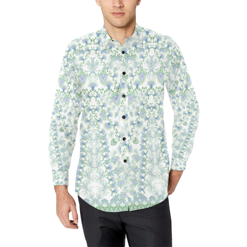 syrian flowers blue Men's All Over Print Casual Dress Shirt (Model T61)