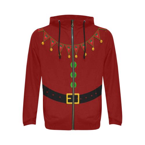 Santa's Helper Elf Red All Over Print Full Zip Hoodie for Men (Model H14)