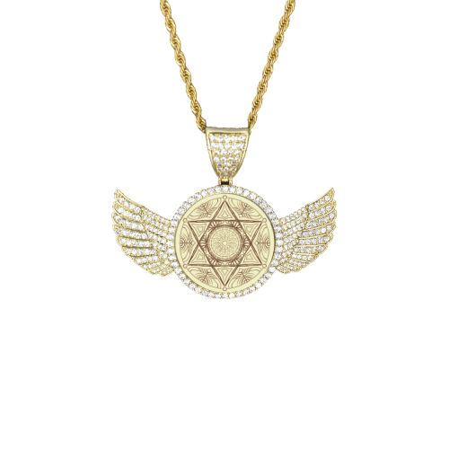 mandala 3D-4 Wings Gold Photo Pendant with Rope Chain