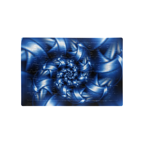 Blue Spiral Fractal Puzzle A4 Size Jigsaw Puzzle (Set of 80 Pieces)