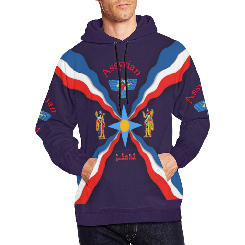 Assyrian Flag Navy blue All Over Print Hoodie for Men (USA Size) (Model H13)