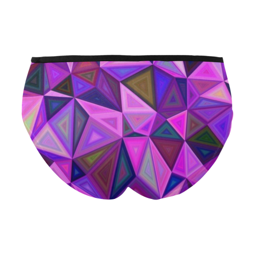 Bright Purple Triangles Women's Mid Rise Briefs (Model L26)