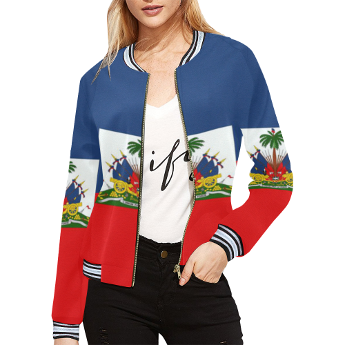 haiti flag All Over Print Bomber Jacket for Women (Model H21)