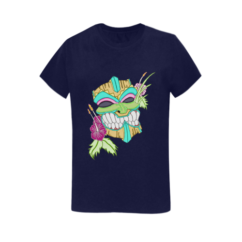 Tropical Tiki Mask Navy Blue Women's Heavy Cotton Short Sleeve T-Shirt