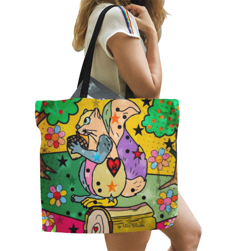 Samy the squirrel by Nico Bielow All Over Print Canvas Tote Bag/Large (Model 1699)