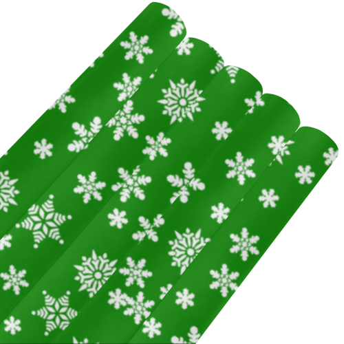 """Christmas White Snowflakes on Green Gift Wrapping Paper 58""""x 23"""" (5 Rolls)"""