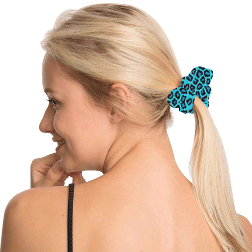 Blue Leopard 4k All Over Print Hair Scrunchie