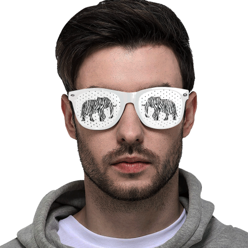 ZEBRAPHANT Elephant with Zebra Stripes black white Custom Goggles (Perforated Lenses)