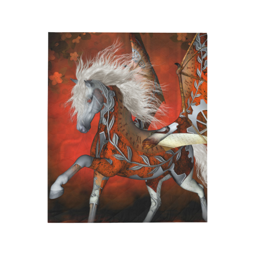 """Awesome steampunk horse with wings Quilt 50""""x60"""""""