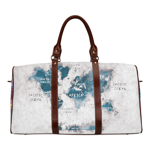world map white and color Waterproof Travel Bag/Small (Model 1639)