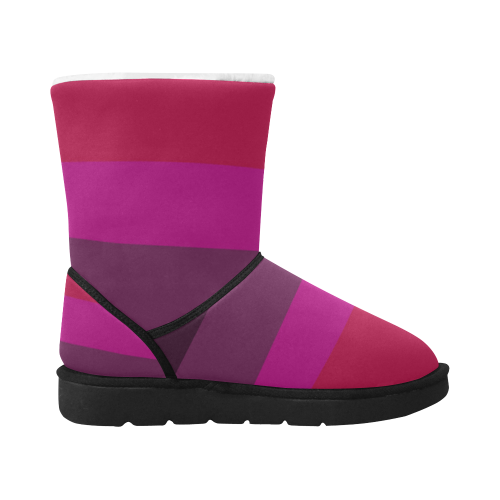 Design shoes - SUNSET PINK LINES Unisex Single Button Snow Boots (Model 051)