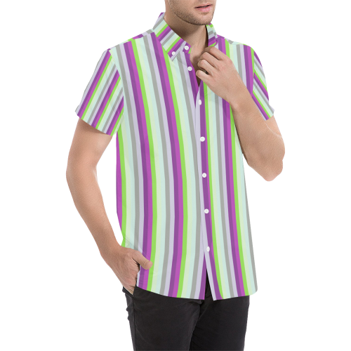 Fun Stripes 4 Men's All Over Print Short Sleeve Shirt (Model T53)