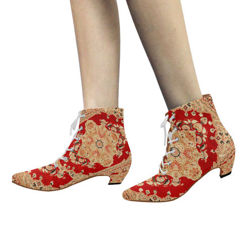 Persian Carpet Hadji Jallili Tabriz Red Gold Women's Pointed Toe Low Heel Booties (Model 052)