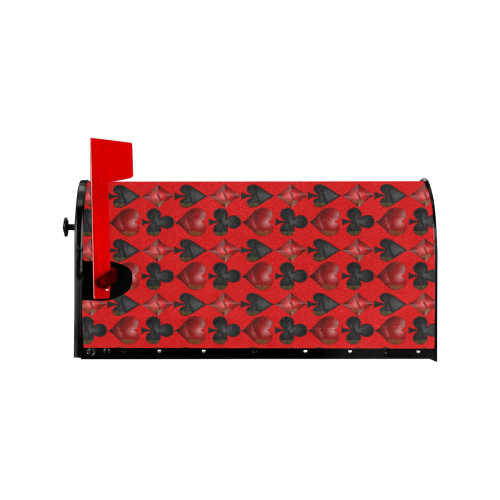 Las Vegas Black and Red Casino Poker Card Shapes on Red Mailbox Cover