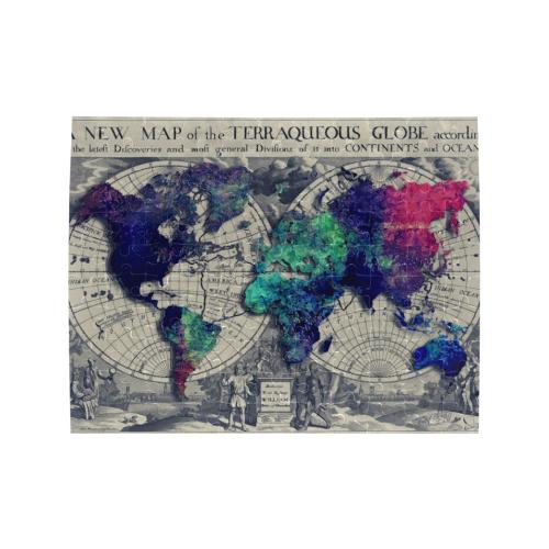 world map #map #worldmap Rectangle Jigsaw Puzzle (Set of 110 Pieces)
