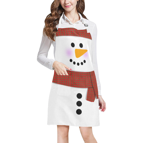 Cute Snowman All Over Print Apron