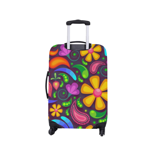 """Colorful Retro Flowers Luggage Cover/Small 18""""-21"""""""