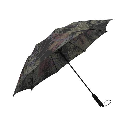 Circles in Black Semi-Automatic Foldable Umbrella (Model U05)