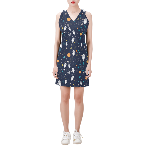 cartoon astronaut doodle Sleeveless V Neck Dress (Model D55)