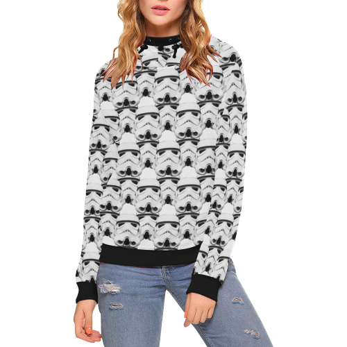 ST Overlap print white high neck hoodie High Neck Pullover Hoodie for Women (Model H24)