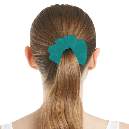 color teal All Over Print Hair Scrunchie