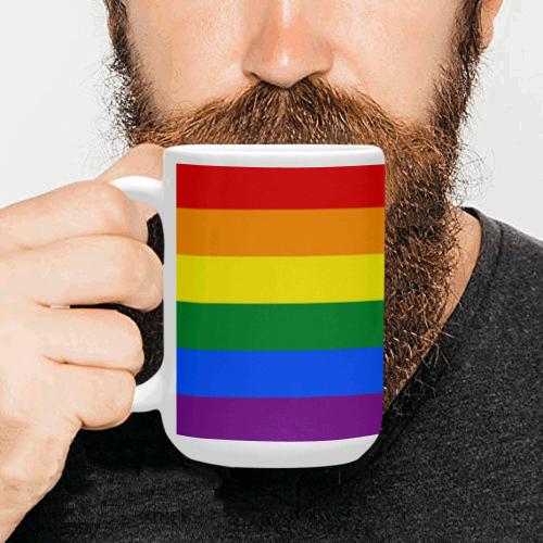 Gay Pride Rainbow Flag Stripes Custom Ceramic Mug (15OZ)