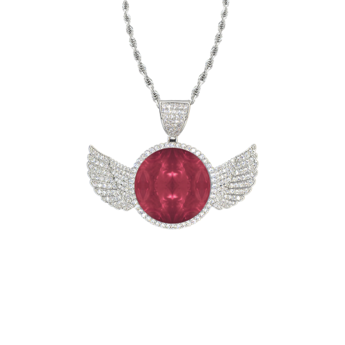 Red Puddle Diamonds Wings Silver Photo Pendant with Rope Chain