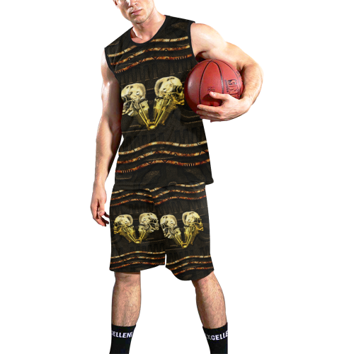 Awesome mechanical skull All Over Print Basketball Uniform